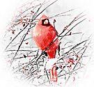 Winter Male Cardinal by Marcia Rubin