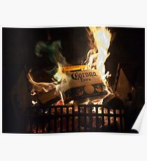 Green Flames Licking Cardboard Poster