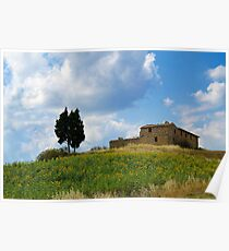Tuscan landscape. Farmstead with sunflowers Poster
