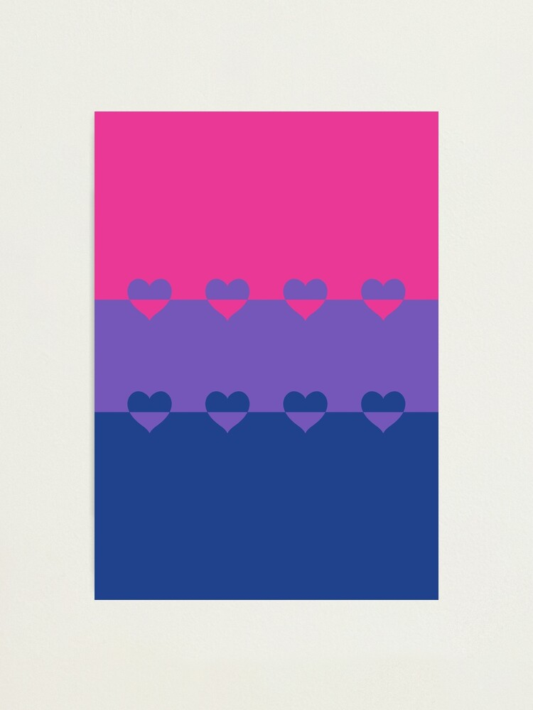 Alternate view of LGBTQ Flag with Hearts v1 - Bisexual Photographic Print