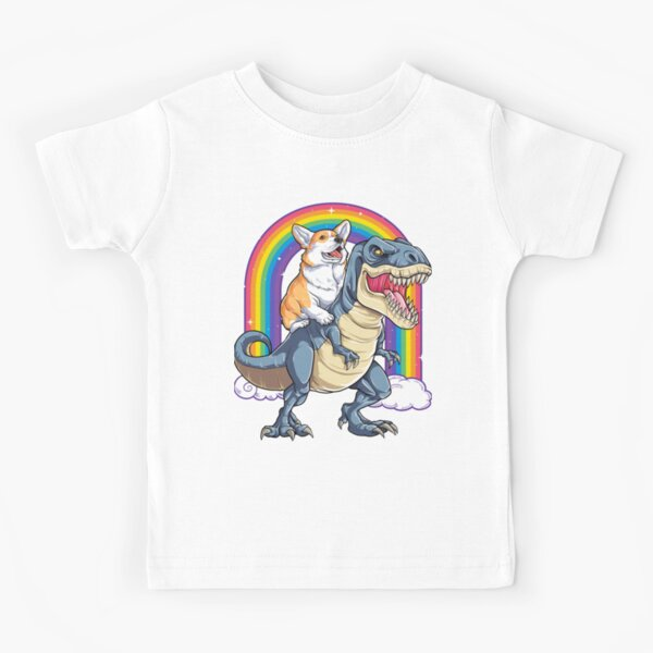 Corgi Riding Dinosaur T rex Shirt Funny Rainbow Dog Kids T-Shirt