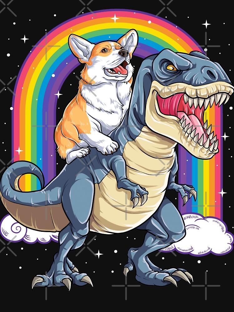 Corgi Riding Dinosaur T rex Shirt Funny Rainbow Dog by LiqueGifts