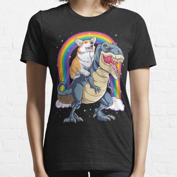 Corgi Riding Dinosaur T rex Shirt Funny Rainbow Dog Essential T-Shirt