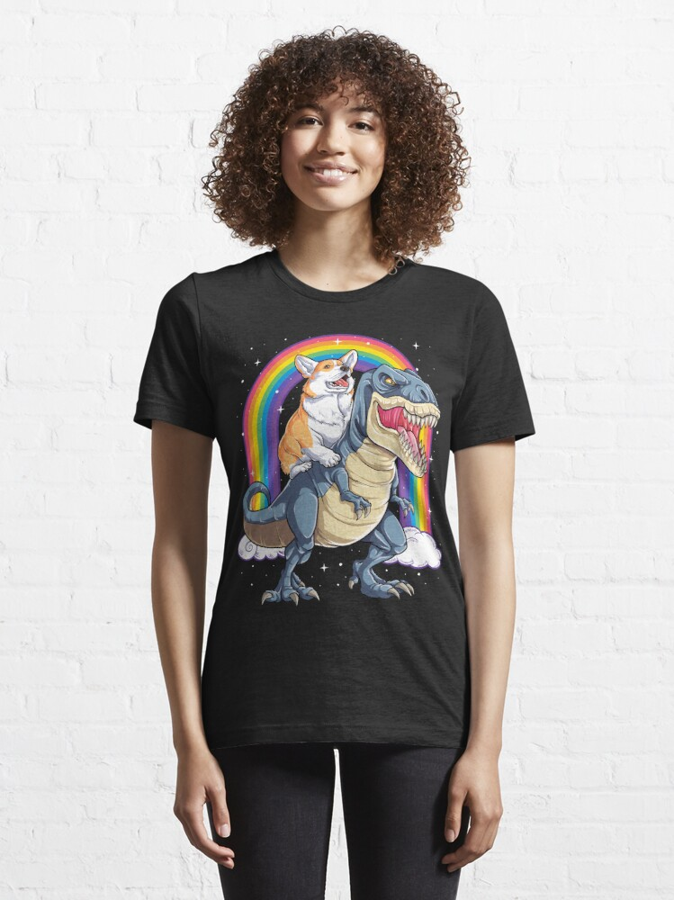 Alternate view of Corgi Riding Dinosaur T rex Shirt Funny Rainbow Dog Essential T-Shirt
