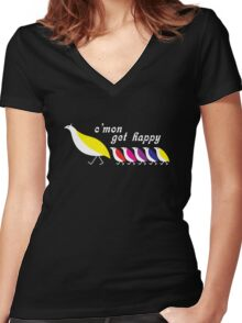 C'mon Get Happy Women's Fitted V-Neck T-Shirt