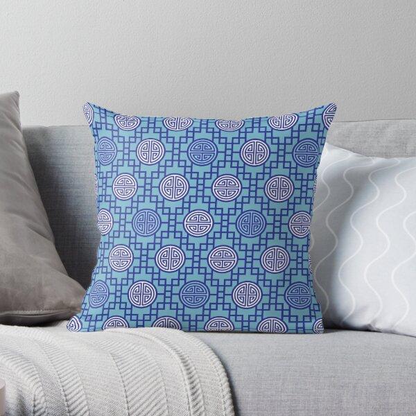 Chinese Geometrics - Blue Throw Pillow