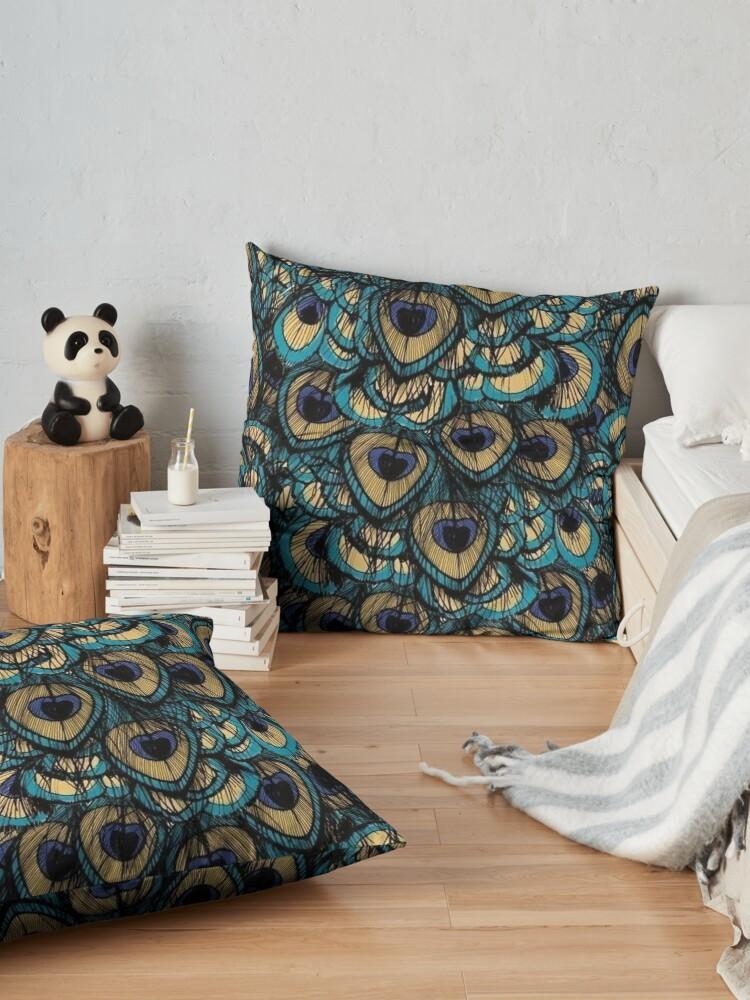 Alternate view of peacock Floor Pillow