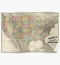Vintage United States Railroad Map (1907) Poster