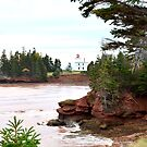 Prince Edward Island Lighthouse with Red Cliffs and Ocean by nadinestaaf