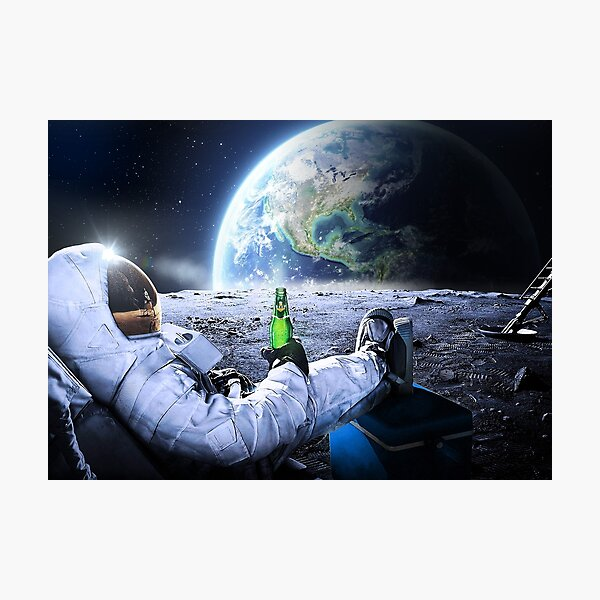 Astronaut on the Moon with beer ⛔ HQ-quality, BESTSELLER Photographic Print