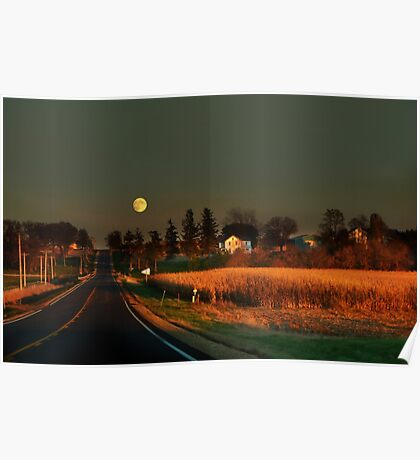 Moonrise on a Country Road Poster