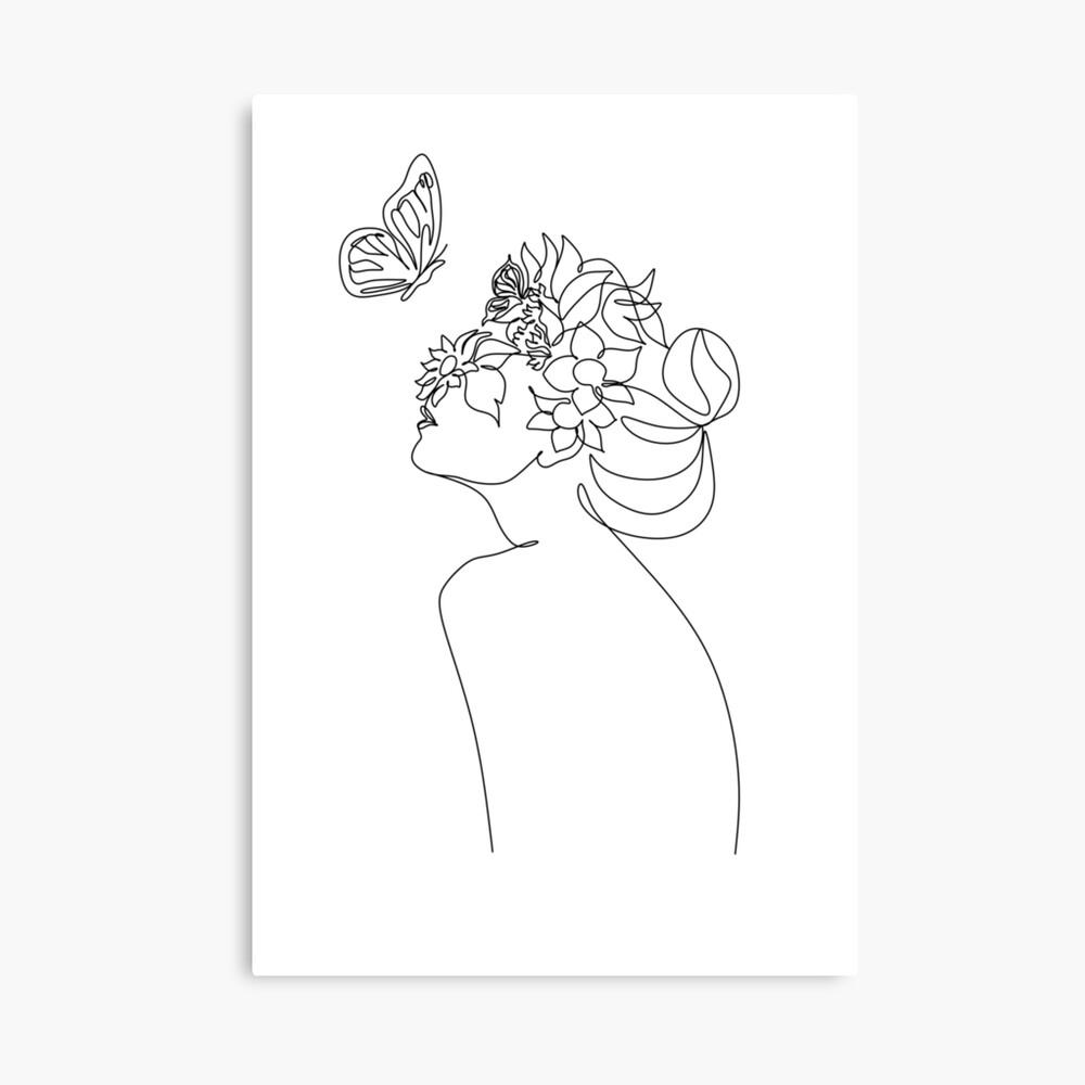 Line Art Frau mit Blumen und Schmetterling   Kopf der Blumen ...