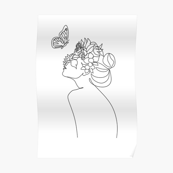 Line Art Woman With Flowers and butterfly | Head Of Flowers Art Print | Flower Woman Line Art | Woman Wall Art | Minimal Line Drawing Woman Poster