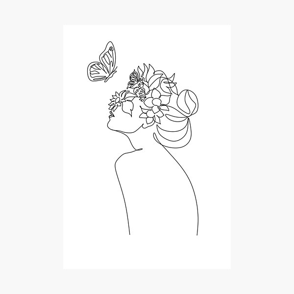 Line Art Woman With Flowers and butterfly   Head Of Flowers Art Print   Flower Woman Line Art   Woman Wall Art   Minimal Line Drawing Woman Photographic Print