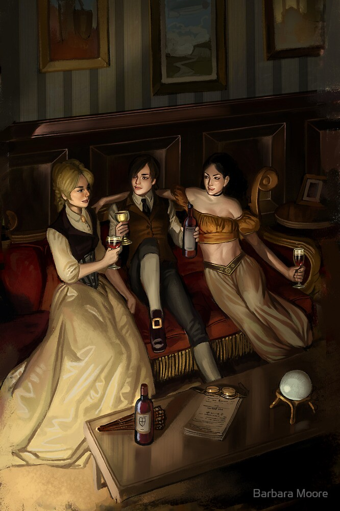 Steampunk 3 of Cups by Barbara Moore