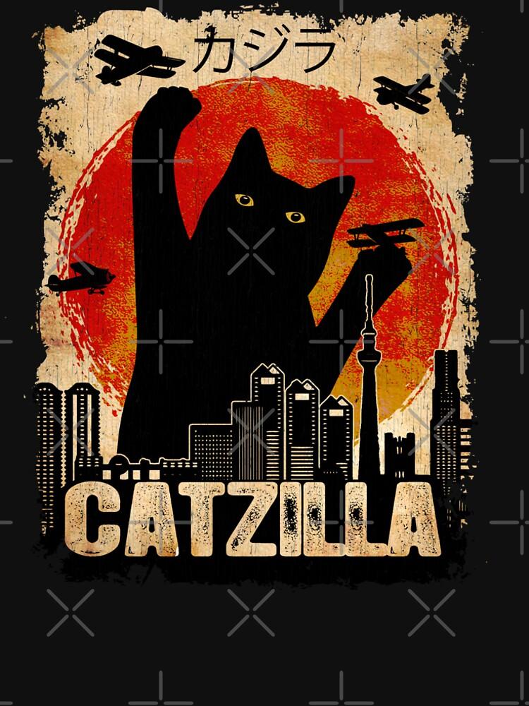 Vintage Catzilla Funny Black Cat T-Shirt by kimwellrena