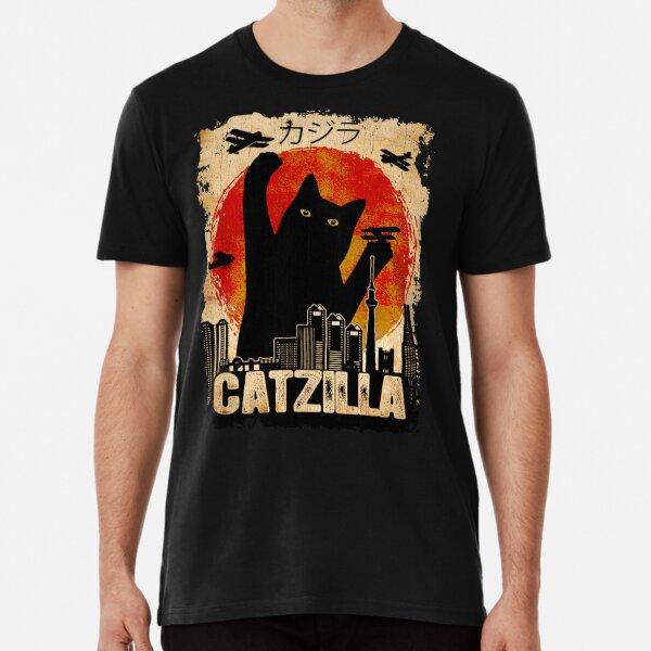Vintage Catzilla Funny Black Cat T-Shirt Premium T-Shirt