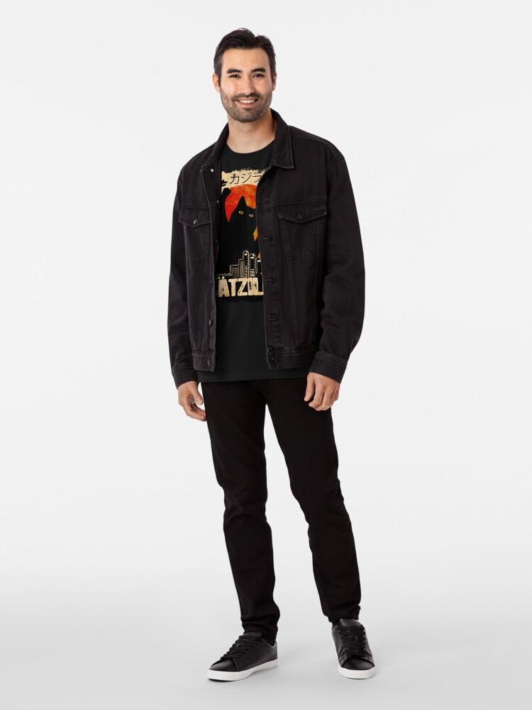 Alternate view of Vintage Catzilla Funny Black Cat T-Shirt Premium T-Shirt