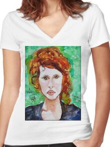 Young Amerindian Beauty Women's Fitted V-Neck T-Shirt