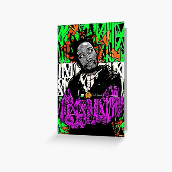 Dirty Graffiti Green and Purple Greeting Card