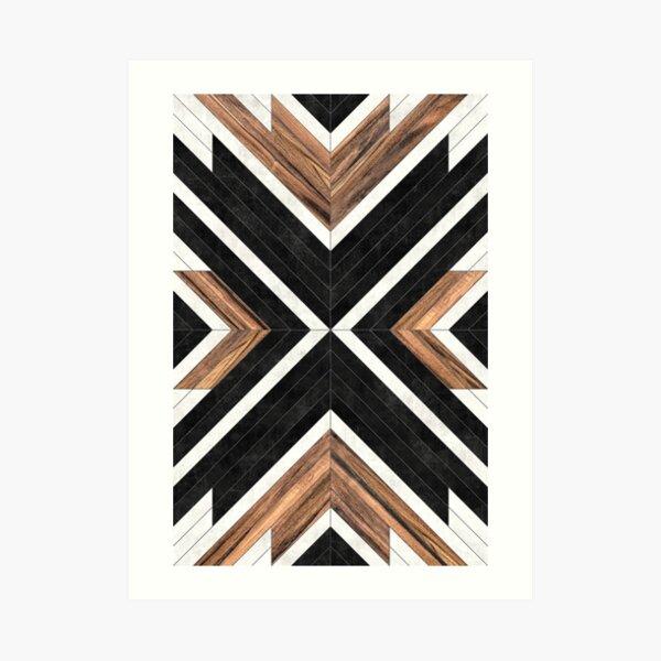 Urban Tribal Pattern No.1 - Concrete and Wood Art Print