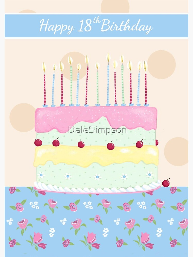 Awesome Happy 18Th Birthday Girly Cake With Flowers Greeting Card By Funny Birthday Cards Online Fluifree Goldxyz