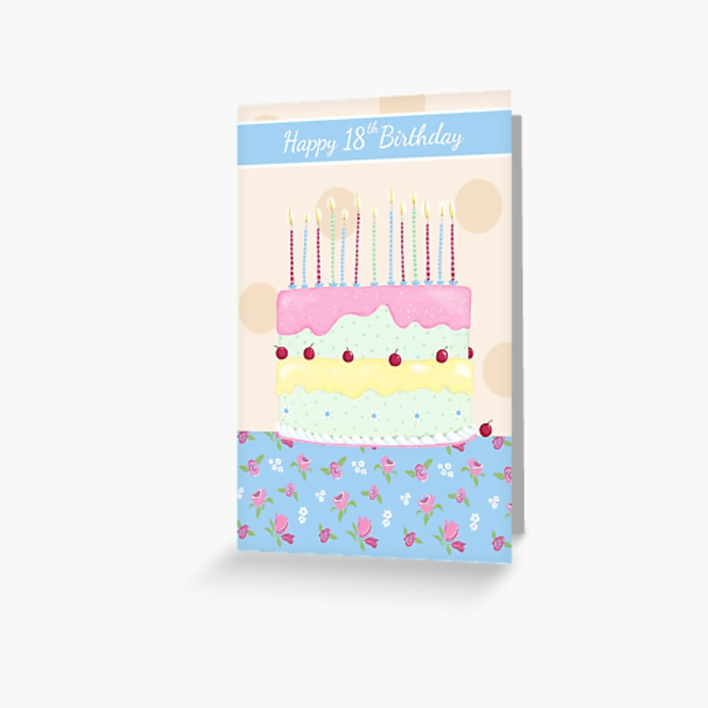 Fine Happy 18Th Birthday Girly Cake With Flowers Greeting Card By Funny Birthday Cards Online Hetedamsfinfo