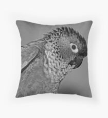 Black and white portrait of a Conure Throw Pillow