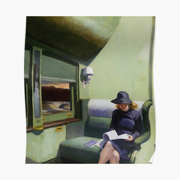 AMERICAN ARTIST. Compartment Car, Edward Hopper. 1938. Poster
