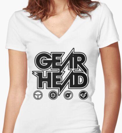 Gear Head (White Outline) Women's Fitted V-Neck T-Shirt