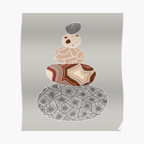 Gray Colored Stack of Great Lakes Rocks Poster
