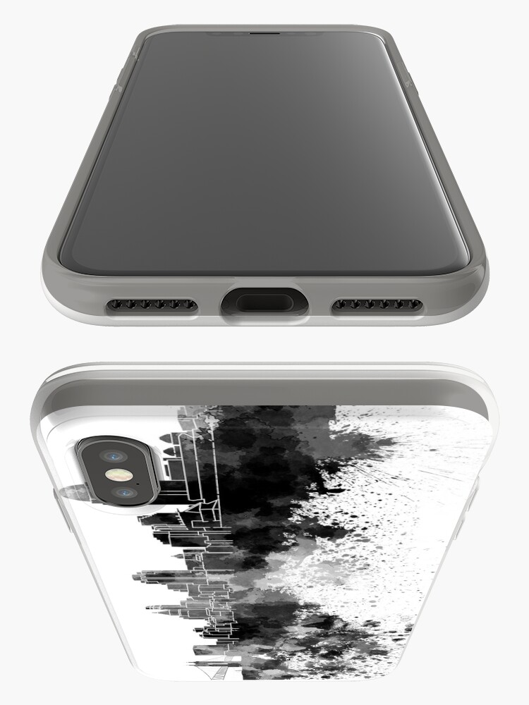 Alternative Ansicht von Cincinnati-Skyline im schwarzen Aquarell iPhone-Hülle & Cover