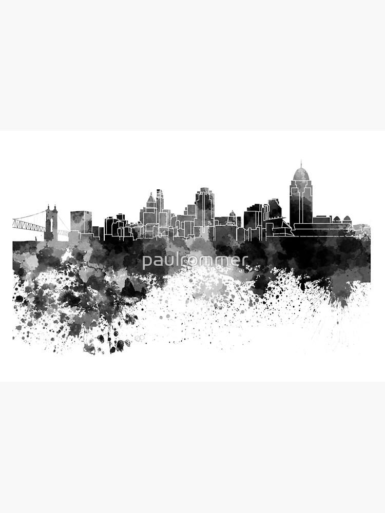 Cincinnati-Skyline im schwarzen Aquarell von paulrommer