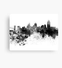 Cincinnati skyline in black watercolor Canvas Print