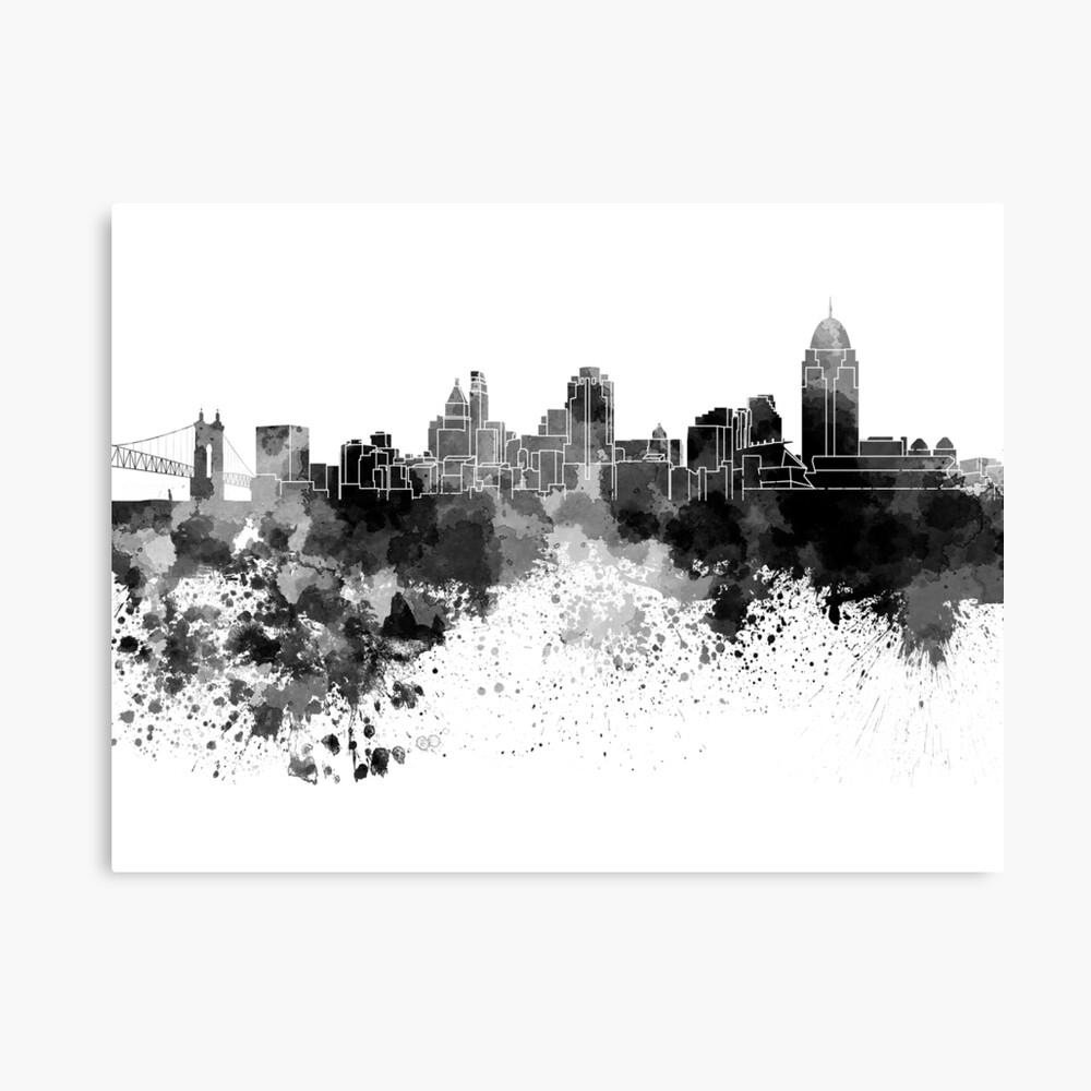 Cincinnati-Skyline im schwarzen Aquarell Leinwanddruck