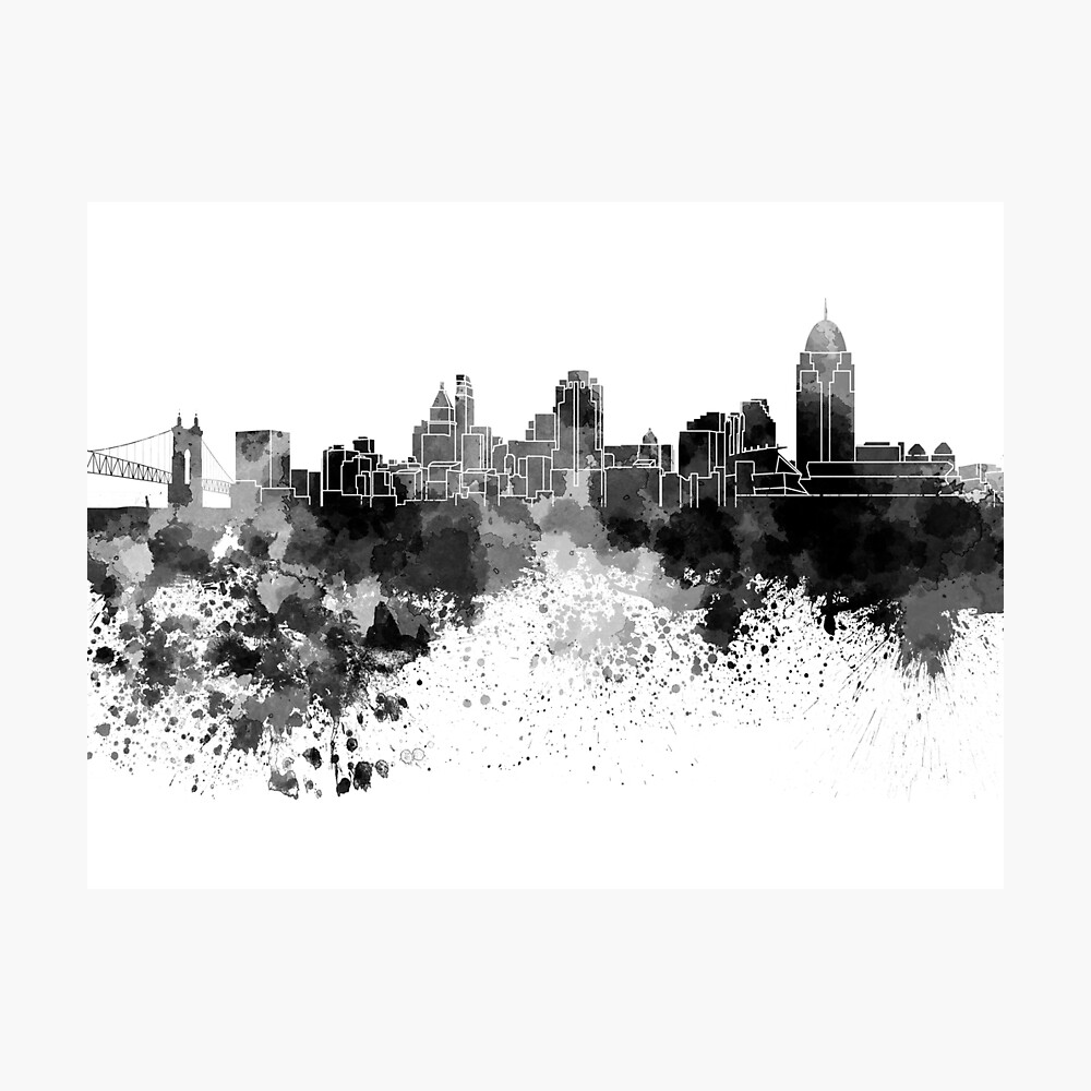 Cincinnati-Skyline im schwarzen Aquarell Fotodruck