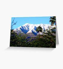 SNOW ON MOUNTAINS THRU THE TREES Greeting Card