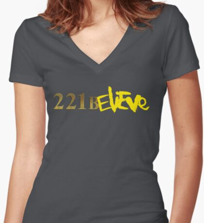 221BELIEVE Women's Fitted V-Neck T-Shirt