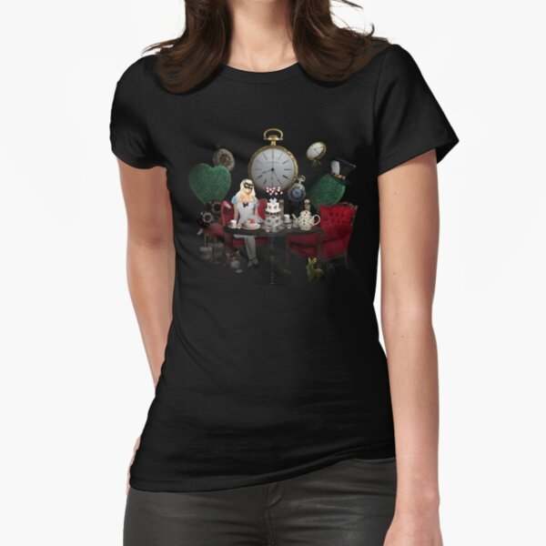 Alice In Wonderland Collage Fitted T-Shirt