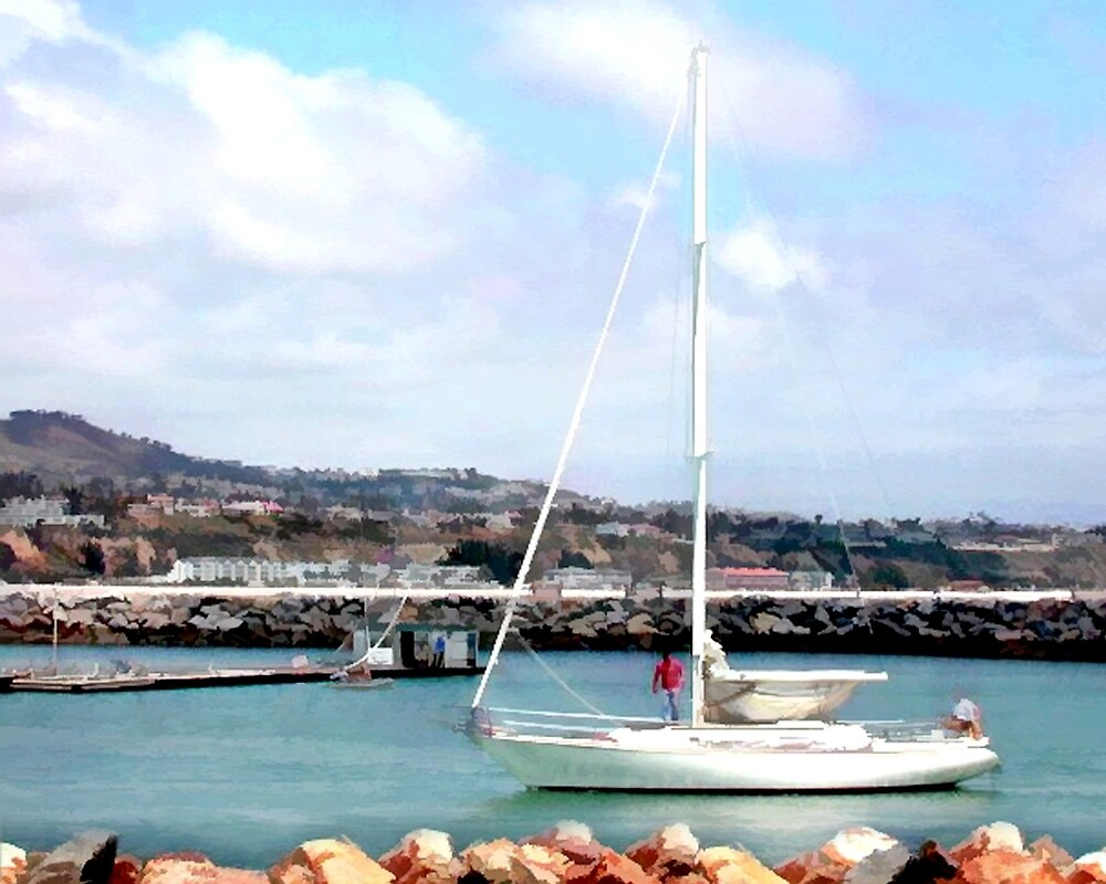 Sailboat Entering Marina by Elaine Plesser