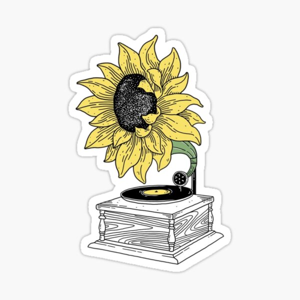 sunflower record player Glossy Sticker