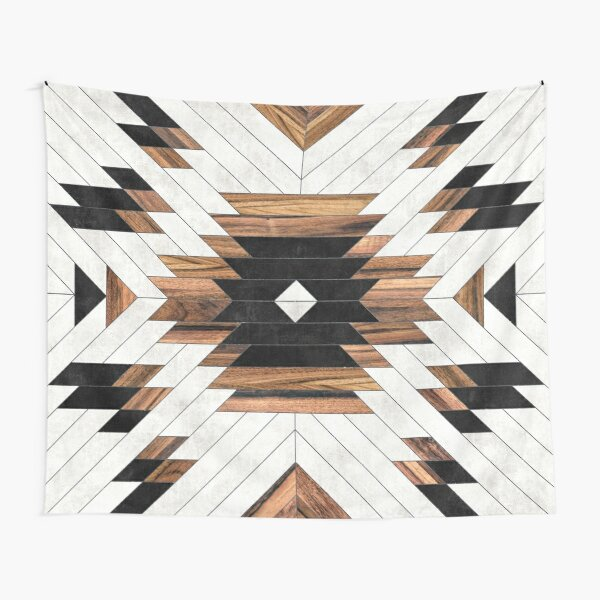 Urban Tribal Pattern No.5 - Aztec - Concrete and Wood Tapestry