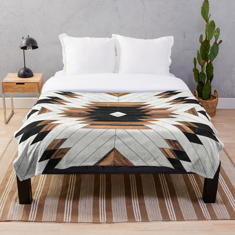 Urban Tribal Pattern No.5 - Aztec - Concrete and Wood Throw Blanket