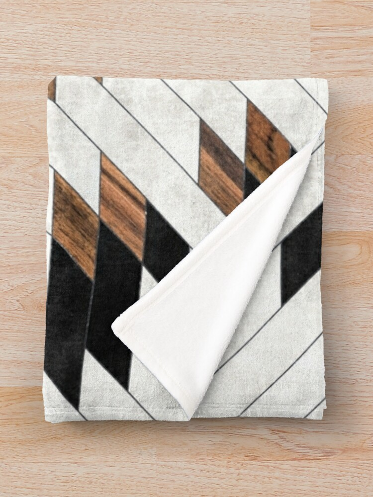 Alternate view of Urban Tribal Pattern No.5 - Aztec - Concrete and Wood Throw Blanket