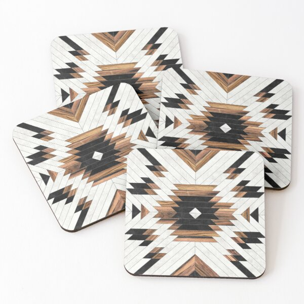 Urban Tribal Pattern No.5 - Aztec - Concrete and Wood Coasters (Set of 4)