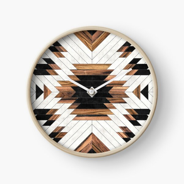 Urban Tribal Pattern No.5 - Aztec - Concrete and Wood Clock