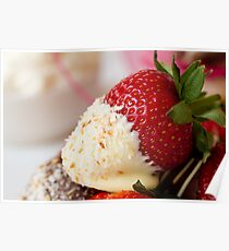 Single chocolate dipped strawberry coated with coconut Poster
