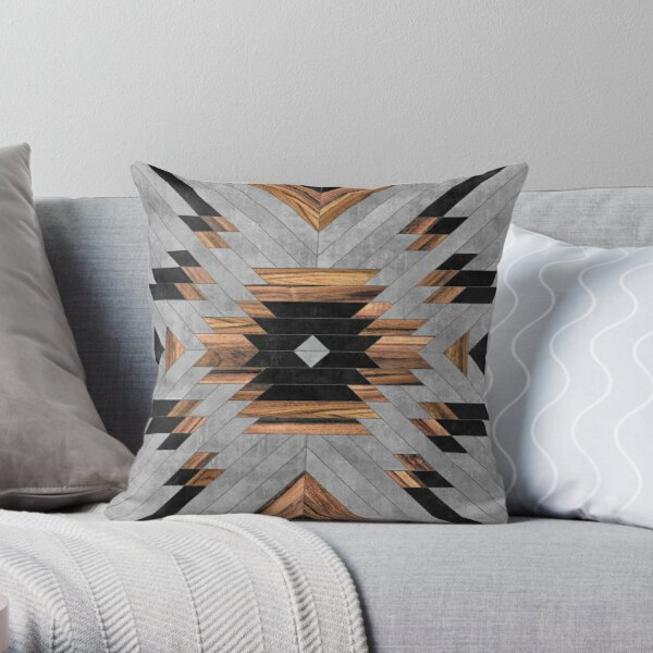 Urban Tribal Pattern No.6 - Aztec - Concrete and Wood Throw Pillow