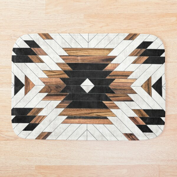 Urban Tribal Pattern No.5 - Aztec - Concrete and Wood Bath Mat