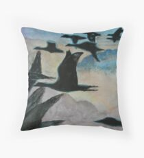 Migrating over the Clouds Throw Pillow